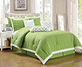 Legacy Decor 9 pc Pleated Microfiber Comforter Set, Lime Green and White...