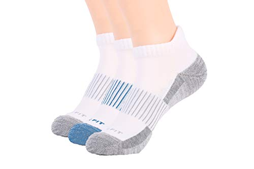 Copper Fit Unisex Copper Infused No Show Socks ,White, Small/Medium,3 Pack