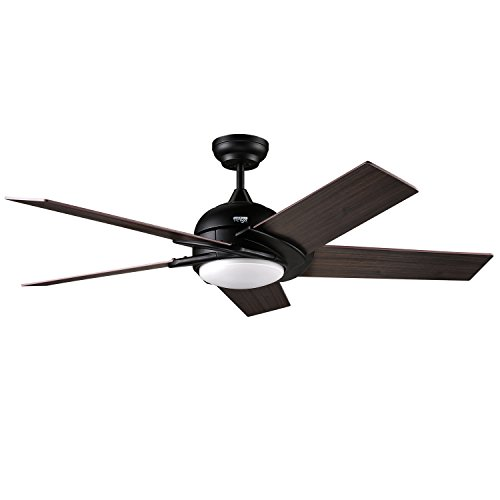reiga 52-Inch 5 Matt Black Hand-Painted Blades Silent Ceiling Fan with LED...