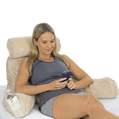 Xtra-Comfort Reading Pillow - Memory Foam Cushion - Neck Roll, Back Lumbar,...