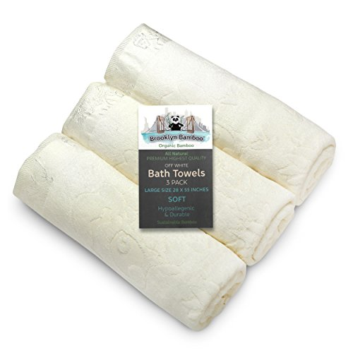 Brooklyn Bamboo Bath Towels, Beautiful Unique 3 Pack of Soft Absorbent...