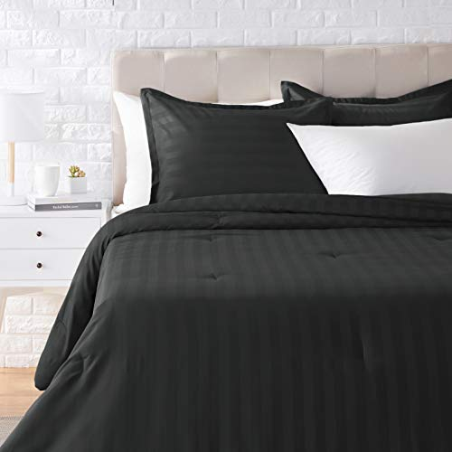 Amazon Basics Damask Stripe Comforter Set - Soft, Easy-Wash Microfiber -...