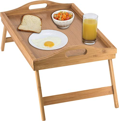 Home-it Bed Tray table with folding legs, and breakfast tray Bamboo bed...