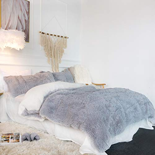 Sleepwish Home Cozy Grey Bedding College Dorm Shaggy Gray Comforter Cover...