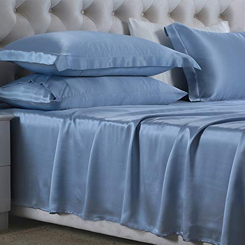 LOVA HOME Silk Sheet Set 4Pcs for Full Bed 100% Pure Mulberry Silk Sheets...