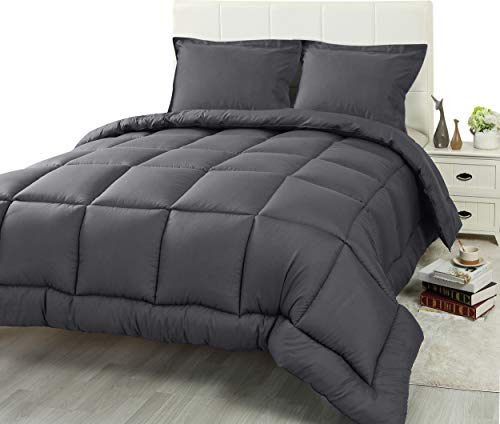 Utopia Bedding 2 Piece Comforter Set (Twin/Twin XL, Grey) with 1 Pillow...