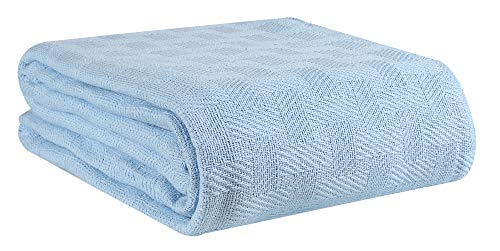GLAMBURG 100% Cotton Bed Blanket, Breathable Bed Blanket Queen Size, Cotton...