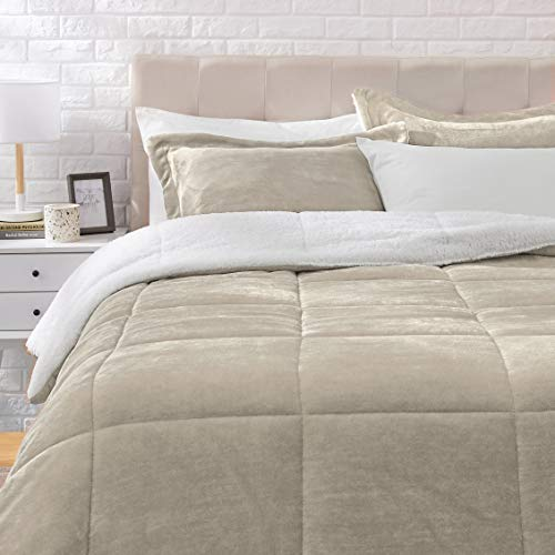AmazonBasics Ultra-Soft Micromink Sherpa Comforter Bed Set, Full or Queen,...