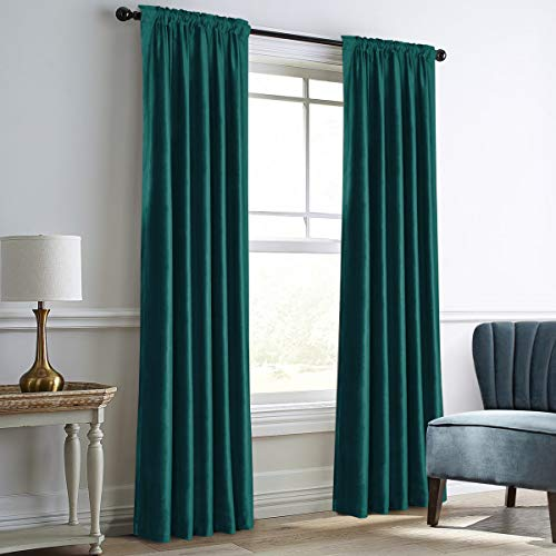 Dreaming Casa Teal Green Velvet Curtains for Living Room Thermal Insulated...