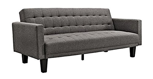 DHP Sienna Sofa Sleeper, Tufted Linen Upholstery with Tapered Wooden Legs,...