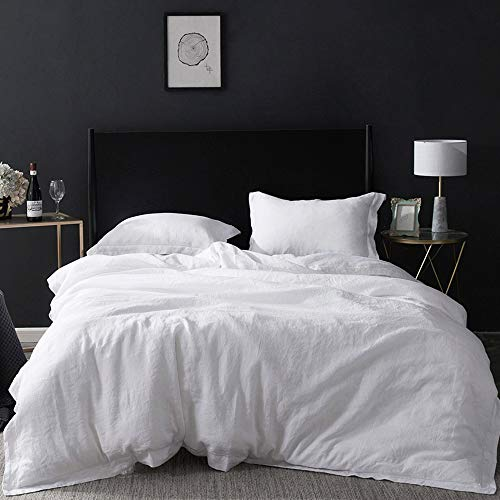 Simple&Opulence 100% Washed Linen Duvet Cover with Embroidered,Queen...