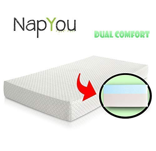Official Amazon Exclusive NapYou Dual Comfort Crib Mattress, Firm Side for...