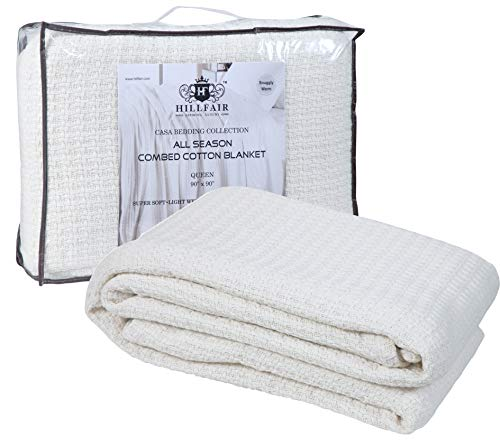 HILLFAIR 100% Soft Premium Combed Cotton Thermal Blanket– King Blankets...
