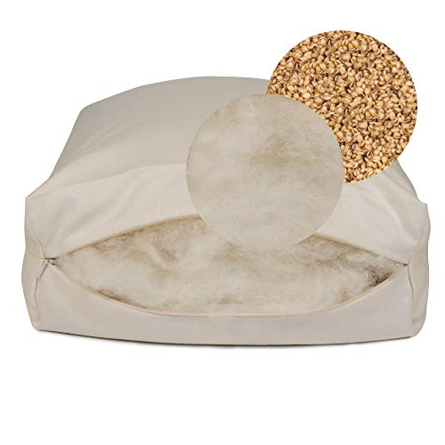 Rejuvenation Pillow with Organic Millet Hulls and Natural Wool