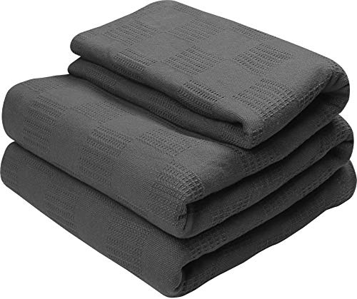 Utopia Bedding Premium Cotton Blanket Queen Grey - Soft Breathable Thermal...
