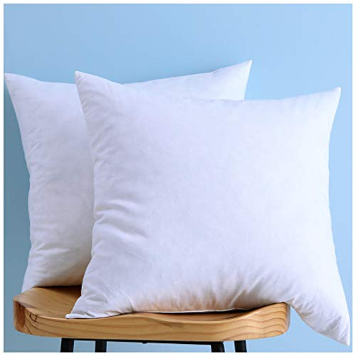 Set of 2, Cotton Fabric Two Pillow Inserts, Down and Feather Throw Pillow...