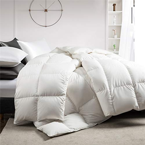 Puredown White Down Comforter Year Round Use 100% Natural Cotton 600 Fill...