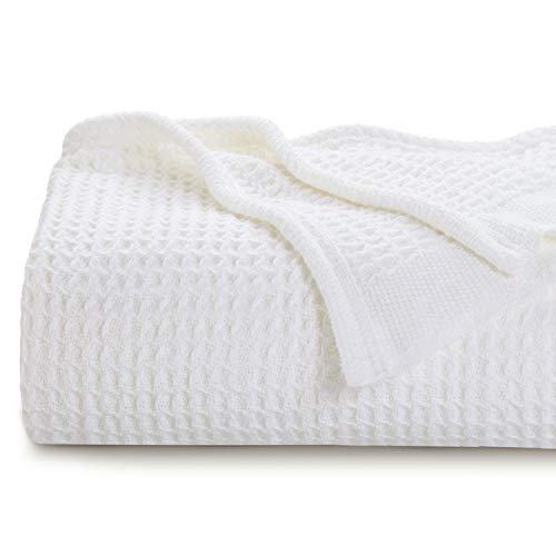 Bedsure 100% Cotton Thermal Blanket - 405GSM Soft Blanket in Waffle Weave...