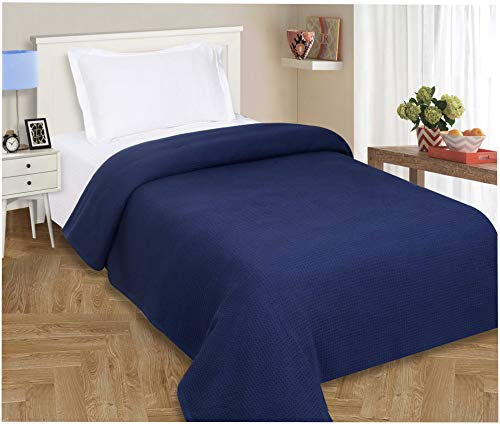 100%Soft Premium Cotton Thermal Blanket in Waffle weave 102x90 King Navy...