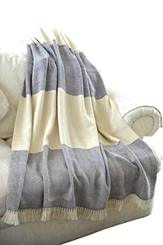 EE Ella Ember 100% Alpaca Wool 2 Color Luxury Blanket Throw - Herringbone...