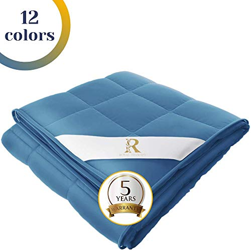 Royal Therapy Weighted Blanket 100% Calming Cotton Blanket with Glass Beads...