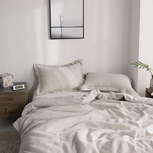 Simple&Opulence 100% Linen Duvet Cover Set with Embroidery Stone Washed - 3...