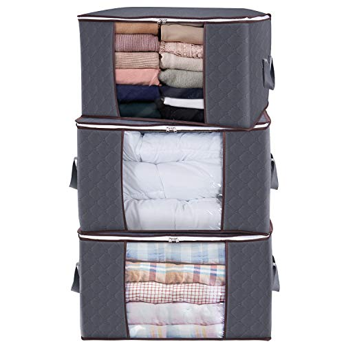 Lifewit Large Capacity Clothes Storage Bag Organizer with Reinforced Handle...