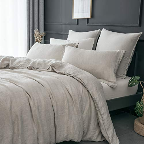 PHF Washed 100% Linen Duvet Cover Set Soft Solid 3 Pieces for Christmas...