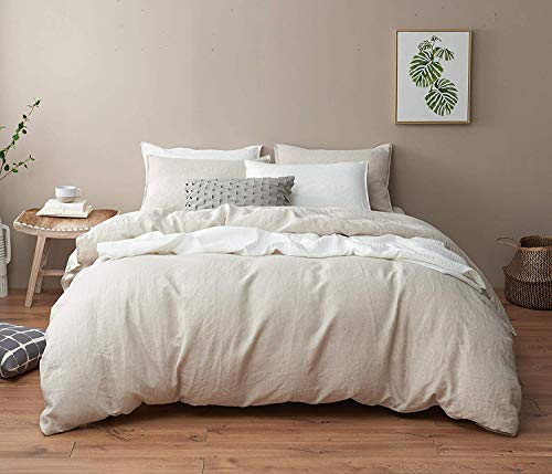 DAPU Pure Linen Duvet Cover Stone Washed European Flax(Full/Queen,...