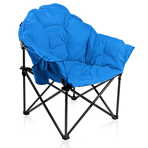 ALPHA CAMP Oversized Moon Saucer Chair with Folding Cup Holder and Carry...