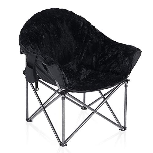 ALPHA CAMP Plush Moon Saucer Chair with Carry Bag - Supports 350 LBS, Gray