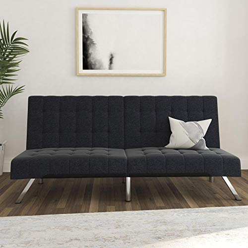 DHP Emily Futon Couch Bed, Modern Sofa Design Includes Sturdy Chrome Legs...