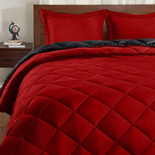 Basic Beyond Down Alternative Comforter Set (Queen, Black/Red) - Reversible...