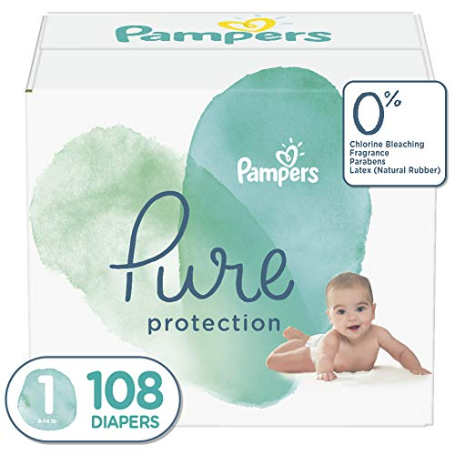 Diapers Newborn/Size 1 (8-14 lb), 108 Count - Pampers Pure Protection...