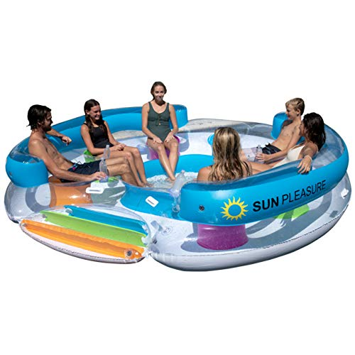 Sun Pleasure Tropical Tahiti Floating Island, Giant Float and Carrying Bag...