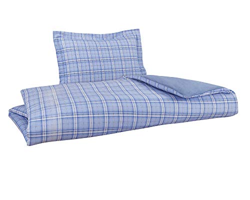 DELANNA Flannel Reversible Duvet Cover Set 100% Cotton 1 Duvet Cover 68' x...