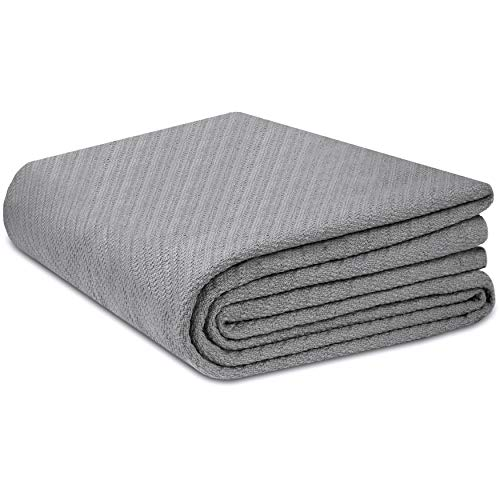 COTTON CRAFT - 100% Soft Premium Cotton Thermal Blanket - Full/Queen Grey -...