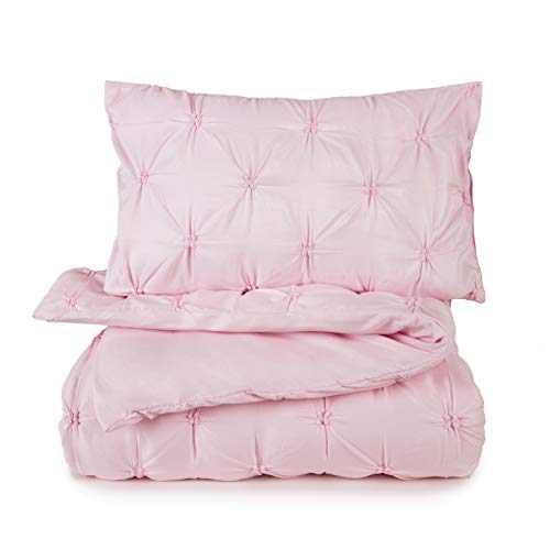 Tadpoles 2 Piece Toddler Gathered Duvet Set Cover, Pink