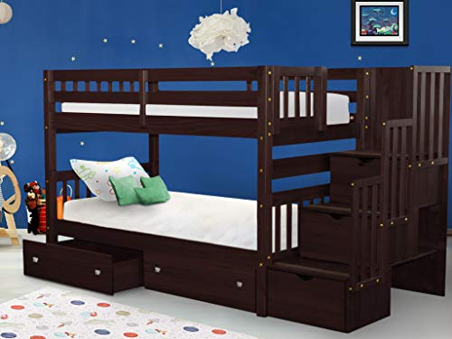 Bedz King Stairway Bunk Beds Twin over Twin with 3 Drawers in the Steps and...