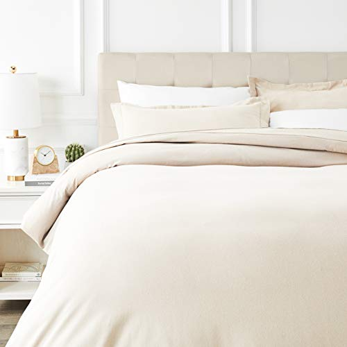 AmazonBasics Everyday Flannel Duvet Cover and 2 Pillow Sham Set - King,...