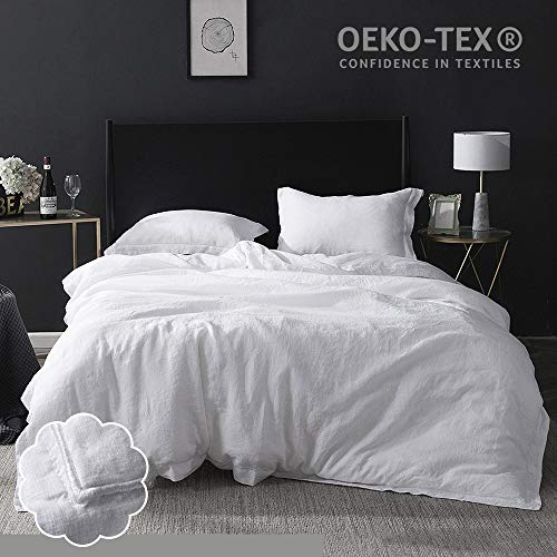 Simple&Opulence 100% Washed Linen Duvet Cover Set 3 Piece Home Bedding Sets...