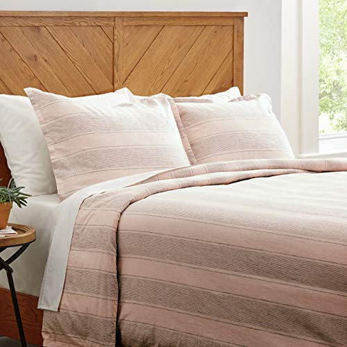 Stone & Beam Washed Linen Stripe Duvet Cover Set, Full / Queen, White with...
