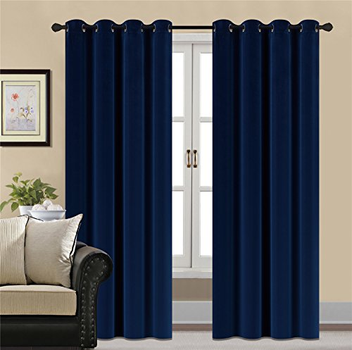 HCILY Blackout Velvet Curtains Navy 96 INCH Thermal Insulated for Bedroom 2...