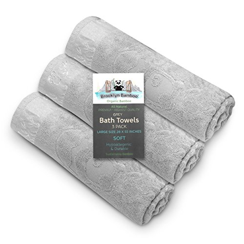 Brooklyn Bamboo Bath Towels - Soft Absorbent Hypoallergenic Odor Free...