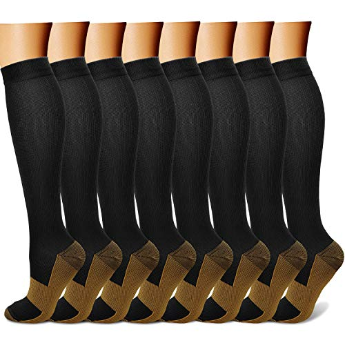 Copper Compression Socks (8 Pairs) 15-20 mmHg is BEST Graduated Athletic &...