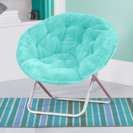 Mainstays Faux-Fur Saucer Chair with Cool faux-fur fabric, soft and wide...