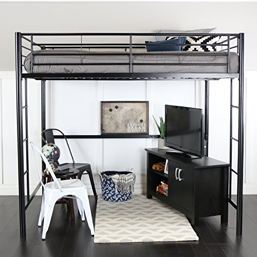 WE Furniture Modern Metal Pipe Full Double Size Loft Kids Bunk bed Bedroom...