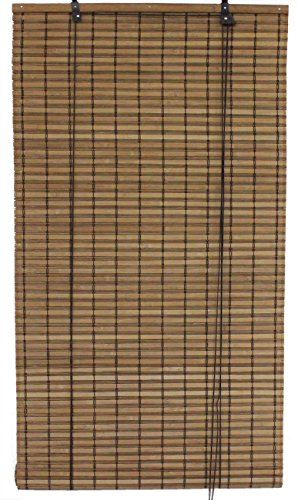 Seta Direct, Brown Bamboo Slat Roll Up Blind - 24-Inch Wide by 72-Inch Long