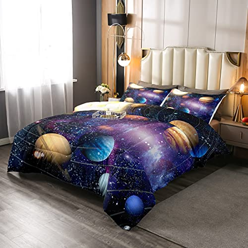 Galaxy Series Down Comforter, 3D Starry Sky Comforter Set Outer Space...