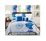 All American Collection New 6pc Flower Printed Reversible Bedspread Set...